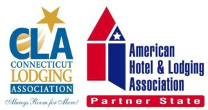 Logos for Connecticut Lodging Association and American Hotel and Lodging Association